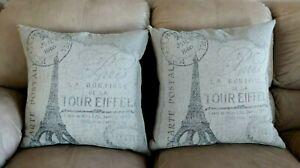 2 D.V. Kap Home Throw Pillows Cartolina Paris Eiffel Tower Large 24 in Down Fill