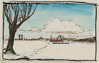 BURGER, Flache Schneelandschaft mit Siedlung in der Ferne, 20. Jh., Tusche