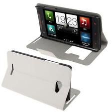 Book Tasche für HTC Butterfly Etui Hülle weiß mit Anrufanzeige Case Handytasche