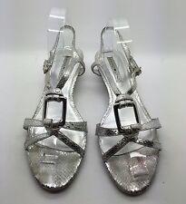 BANDOLINOS Silver Snake Textured Leather Open Toe Sling Back Wedge Sandals 9.5M
