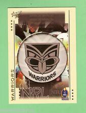 2003  NEW ZEALAND WARRIORS   RUGBY LEAGUE EMBLEM  & PLAYER LIST CARD