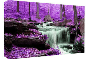 Purple Toned Waterfall in Forest Canvas Wall Art Picture  - All sizes & colours
