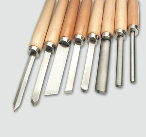 Mannesmann Wood Lathe Chisel Set 8 pcs <> Woodworking Carving Tools VPA GS TUV