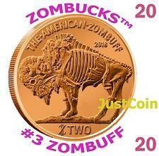 2014 ZOMBUFF ROLL 20 PCS COPPER BULLIONS ZOMBUCKS .999 FINE ROUND ZOMBIE BUFFALO