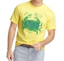 IZOD Camiseta Hombre Talla G Amarillo Verde Manga Corta CANGREJO PESCA gráfica