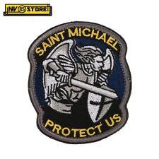 Patch Ricamata Saint Michael Protect US 8,5 x 7 cm Militare Blu-Y con Velcrogrip