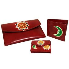 Handmade Leather Purse,Wallet & Pouch Set Sun & Moon Red