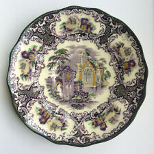 "Petrus Regout & Co Maastricht Abbey Holland 6"" china side plate PURPLE GREEN"