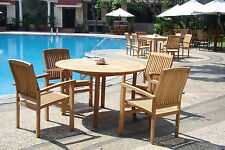 Wave 5-pc Outdoor Teak Dining Patio Set: 52� Round Table, 4 Stacking Arm Chairs