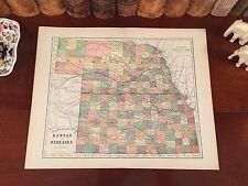 New listing Original 1890 Antique Map Nebraska Kansas Grand Island Crete Hutchinson Shawnee