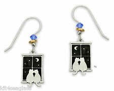 Sienna Sky Kitty CAT Pals in Window EARRINGS Sterling Silver Dangle - Gift Box