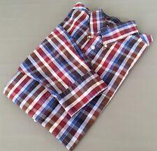 TURNBURY Men's Long Sleeve Shirt Sz.Large (34) Blue Red White Check/Plaid Print