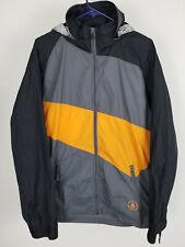 Volcom V-Line Hooded Jacket Windbreaking Summer Rain Zipped Orange Stripe Size M