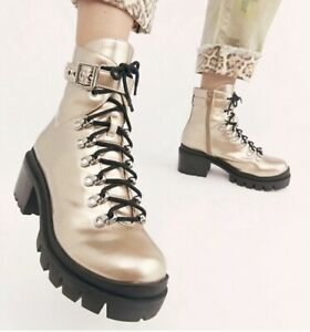 Jeffrey Campbell Combat Boot Platform Muted Gold Leather Lace Up Lug 9.5, NEW!