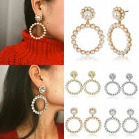 Statement Geometric Large Circle Crystal Pearl Drop Dangle Earrings For Women