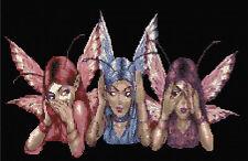 Hear No Evil,See No Evil, Speak No Evil Fairies Counted Cross Stitch Kit Fantasy