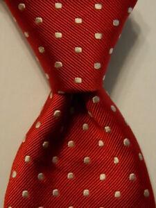 VINEYARD VINES Martha's Men's 100% Silk Necktie Designer POLKA DOT Red/White EUC