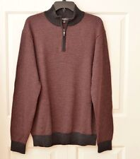 Saks Fifth Ave 100% Wool Men's Sweater 1/2 Zip Up ~ Sz XL
