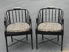 Pair of Century Faux Bamboo Barrel Back Arm Chairs ON SALE!