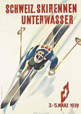 Vintage Ski Posters SKIRENNEN UNTERWASSER, Swiss, 1939, Art Deco Travel Print