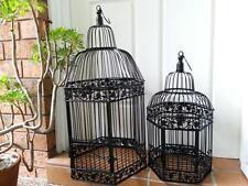 A Set of 2 Iron Handmade Ornamental Bird Cage Wedding Wishing Well BLACK HYL016