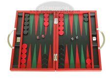 """Zaza & Sacci Premium Travel Leather Backgammon Set - 15 1/4"""" Red Board"""