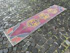 Turkish rug, Bohemian rug, Handmade vintage runner rug, %100 wool   1,9 x 8,3 ft