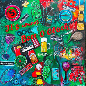 """""""It's always Beer O'Clock somewhere"""" Gift Wine-Original Painting by Astrid"""