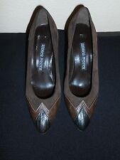 ANDREA PFISTER BROWN SUEDE W/ LIZARD TRIM PUMPS SIZE 6.5N NEW FREE SHIPPING!