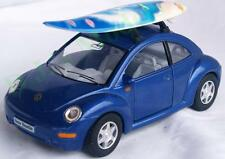 Diecast 1:32 V.W. Volkswagen new beetle with surf board in blue