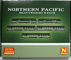 N MTL  NORTHERN PACIFIC heavyweight 5-pack passenger cars -- NEW IN BOX