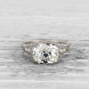 3.05 Ct Vintage Oval Cut Art Deco Antique Engagement Ring In 925 Sterling Silver
