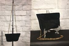DELVAUX BRUXELLES Black Suede Gold Chain Small Evening Bag Clutch Handbag - RARE