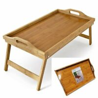 EXTRA LARGE BAMBOO WOODEN BREAKFAST LAP BED TRAY WITH FOLDING LEGS - 53 x 33 cm