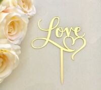 Love Heart Engagement Anniversary Acrylic Cake Topper Mirror Gold Decorations