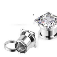 Pair of Steel Large Square CZ Gem Screw Fit Ear Plugs Tunnels Earlets E349