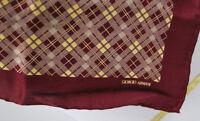 "Vintage Giorgio Armani Burgundy Plaid Silk Scarf 31"" X 31"""