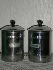 2 POTS A EPICES CAFE ET CHICOREE EN CUIVRE CHROME FABRICATION FRANCAISE