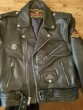 Mens Black Leather Eagle  Motorcycle Jacket Size 40 Excellent condition Heavy