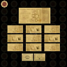 WR 24K Gold Foil Zimbabwe 100 Trillion Dollars Banknote Bundle 10pcs Set  /w COA