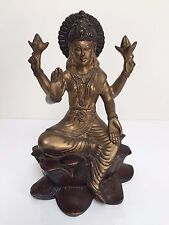 Heavy Hindu Goddess Lakshmi Laxmi Antique Finish Brass Metal Statue Sculpture
