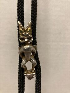 Rope Braided Bolo Tie With Gold Tone Idol Clip Green Stones In Eyes