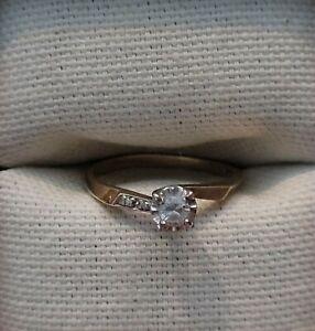 Keepsake 14k Yellow Gold Diamond Engagement Ring Size 6 1/2 Vintage from 1960's