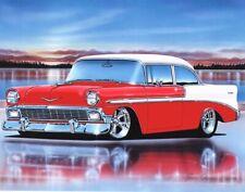 1956 Chevy Bel Air 2 Door Sedan Hot Rod Car Art Print 11x14