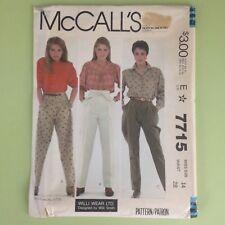 Uncut Vtg 1980s Misses Pants Sz 14 Waist 28 McCalls 7715 Pleats Side Zipper Yoke