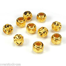 10pcs Solid 24K Yellow Gold 5mm Caved Beads 1.4g / for Bracelet