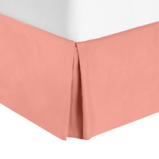 Solid Luxury Pleated Tailored Bed Skirt - 14� Drop Dust Ruffle, King -Misty Rose