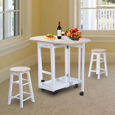 HOMCOM 3pc Wooden Kitchen Cart Trollet Table Folding Stools Space-saving