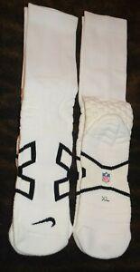 Dallas Cowboys NIKE NFL Team Issued White Compression Crew Socks Men's L-XL