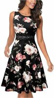 Women's Sleeveless Cocktail A-Line, Black+white Floral, Size 8.0 GsDC
